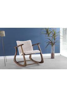 Cadeira Balanço Smith Matelassê 65X83X72Cm - Verniz Capuccino \ Tec.003 - Linen Soft Off White