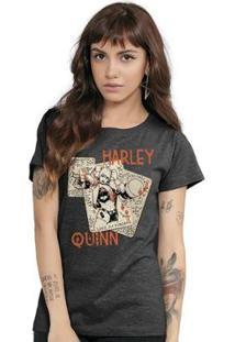 Camiseta Bandup Harley Quinn Cards - Feminino-Mescla Escuro