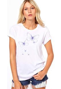 Camiseta Coolest Borboletas Lilas Branco - Branco - Feminino - Dafiti