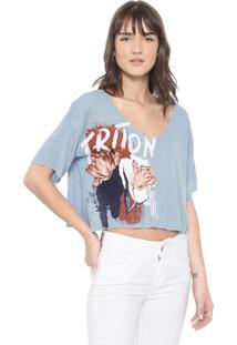 Camiseta Cropped Triton Estampada Azul