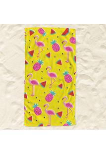 Toalha De Praia Flamingos E Frutas Pump Up