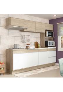 Cozinha Compacta 7 Portas Com Rodapés Cs673R Acácia/Branco - Decibal Móveis