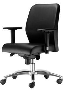 Cadeira Pointer Premium Assento Courino Preto Base Arcada Em Aluminio - 54492 Sun House