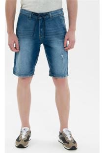 Bermuda Jeans Bolso Faca E Cadarço - Azul Médio - 42