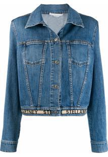 Stella Mccartney Jaqueta Jeans Com Logo - Azul