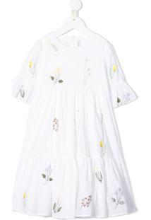 Il Gufo Vestido Com Babados E Bordado - Branco