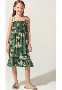 Vestido Menina De Alças Finas Camuflado Triya