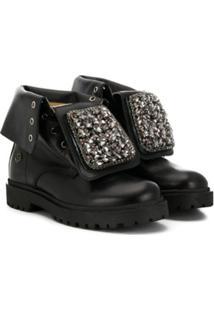 Florens Crystal Embellished Boots - Preto