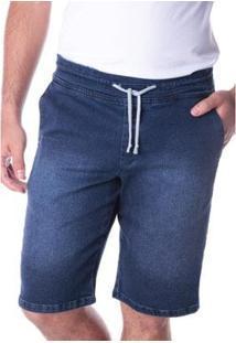 Bermuda Jeans Traymon Jogging Amaciada Masculina - Masculino-Marinho