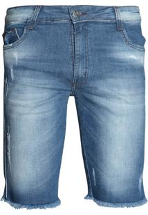 Bermuda Jeans Masculina Max Denim Desfiada
