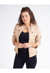Jaqueta Besni Básica Corino Feminina - Feminino-Bege