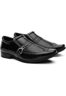 Sapato Social Hshoes Bico Quadrado Conforto Macio Masculino - Masculino-Preto
