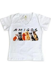 Camiseta Cool Tees Gola V Feminina - Feminino-Branco