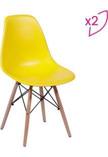 Jogo De Cadeiras Eames Dkr- Amarelo & Madeira- 2Pã§S