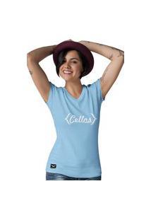 Camiseta Feminina Gola V Cellos Retro Premium W Azul Claro
