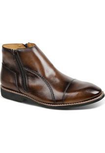 Bota Masculina Linha Premium Dress Boot Sandro Moscoloni 16730 Marrom Escuro