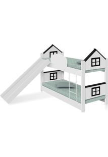 Beliche Infantil Casa Adesivada Preta Escorregador E Colchões Casah