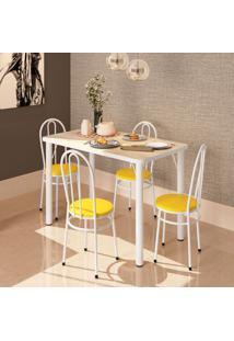 Conjunto De Mesa De Cozinha Com 4 Lugares Roma Branco E Amarelo