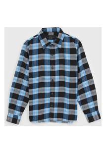 Camisa Ellus Kids Infantil Xadrez Cinza/Azul
