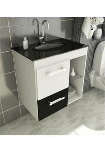 Gabinete Para Banheiro 60 Cm Com 2 Peças Linea 12 Branco E Preto Tomdo