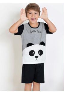 Pijama Infantil Com Bordado Mescla E Preto