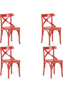 Kit 4 Cadeiras Decorativas Gran Belo Crift Vermelho