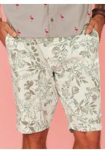 Bermuda Branco Slim Estampada Floral Enfim