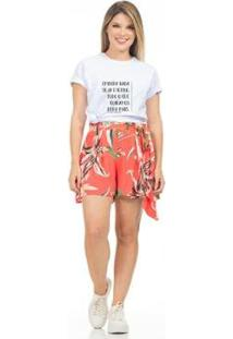 Camiseta Clara Arruda Lisa Feminina - Feminino-Branco