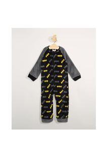 Pijama Macacão Infantil Em Fleece Manga Longa Estampado Batman Preto