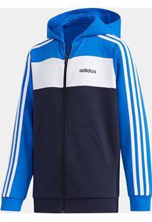 Jaqueta Infantil Adidas Yb Lin Cb Fz Fl Masculina - Masculino-Azul+Branco