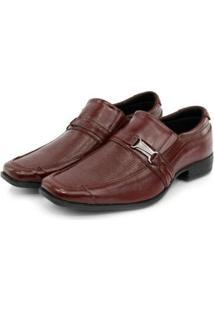 Sapato Social Masculino Couro Elástico Dia A Dia Conforto - Masculino-Marrom