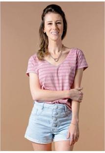 Camiseta Cia Gota Manga Curta Listrada Flamingo Feminina - Feminino