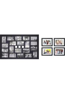 Kit Com 1 Painel De Fotos E 4 Quadros Bee Collection-Kapos - Preto