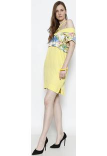 Vestido Com Sobreposição - Amarelo & Verde - Santísssantíssima