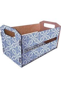 Caixote Organizador Azulejo- Branco & Azul- 18,5X33Xcia Laser