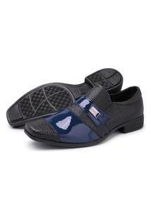 Sapato Masculino Schiareli Social Preto Com Azul