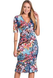 Vestido Com Babado Moda Evangélica Floral Azul