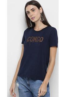 Camiseta Mob Congo Glitter Feminina - Feminino-Azul