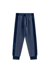 Calça Juvenil Abrange Estampa Perna Azul Abrange Casual Azul Marinho