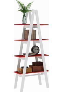 Estante Decorativa Escada Maior Rt 3048 Branco/Vermelho - Móvel Bento