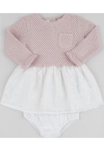 Vestido Infantil Em Tricô Com Renda Manga Longa + Calcinha Rosa