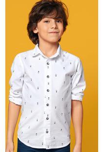 Camisa Infantil Menino Em Tecido Fio Tinto Com Mini Print Hering Kids