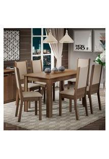 Conjunto Sala De Jantar Amanda Madesa Mesa Tampo De Madeira Com 6 Cadeiras Rustic/Crema/Pérola