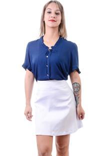 Blusa Cherry Pie Decote Com Babados Azul Marinho