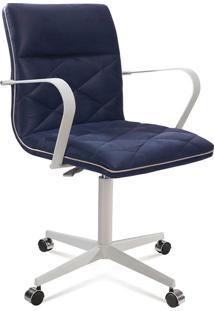 Cadeira De Escritório Diretor Mark Linho Azul