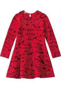 Vestido Vermelho Godê Com Strass