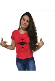 Camiseta Gola V Cellos Raspberry Premium Feminina - Feminino-Vermelho