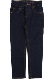 Calça Jeans Calvin Klein Kids Infantil Lisa Azul-Marinho