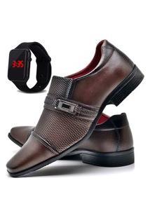 Sapato Social Masculino Com E Sem Verniz Db Now Com Relógio Led Dubuy 814Od Marrom