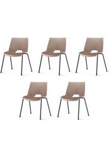 Kit 5 Cadeiras Strike Assento Bege Base Preta - 57642 - Sun House